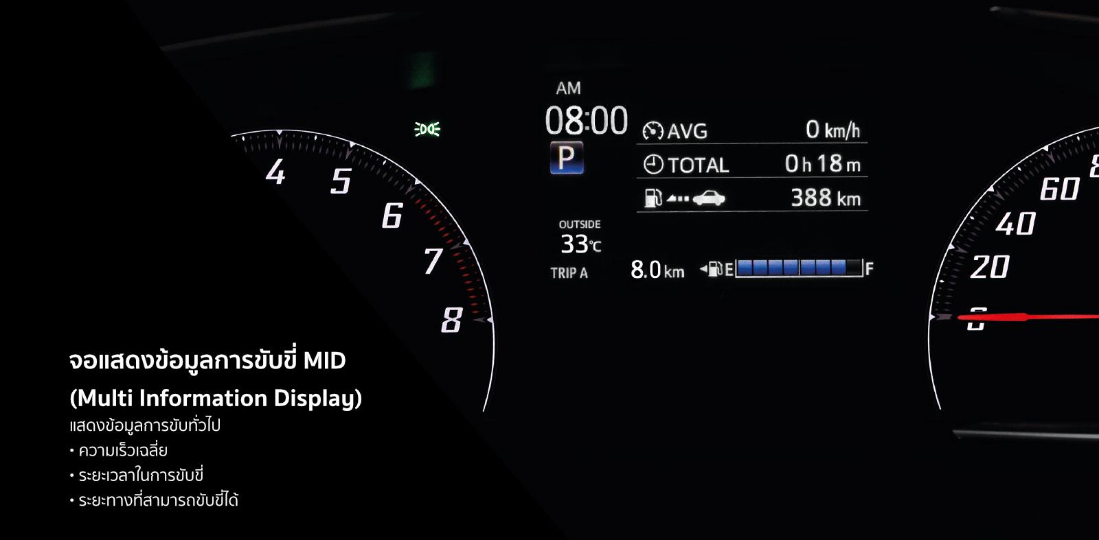 จอแสดงข้อมูลการขับขี่ MID (Multi Information Display)แสดงข้อมูลการขับทั่วไป : ความเร็วเฉลี่ย, ระยะเวลาในการขับขี่, ระยะทางที่สามารถขับขี่ได้
