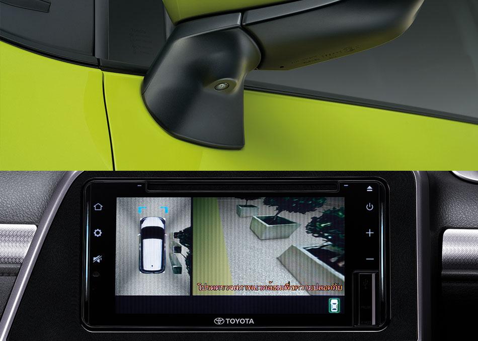 กล้องข้างซ้าย/ขวา ติดตั้งบริเวณกระจกมองข้าง แสดงผลมือเปิดสัญญาณไฟเลี้ยว