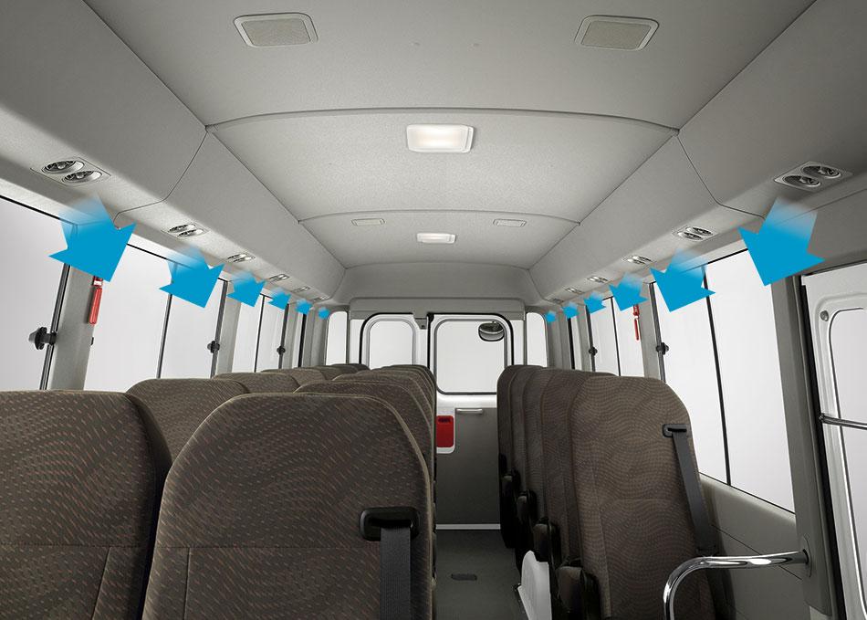 ระบบปรับอากาศทุกที่นั่ง กระจายความเย็นสบายได้อย่างทั่วถึง พร้อมระบบระบายความร้อนจากด้านบน