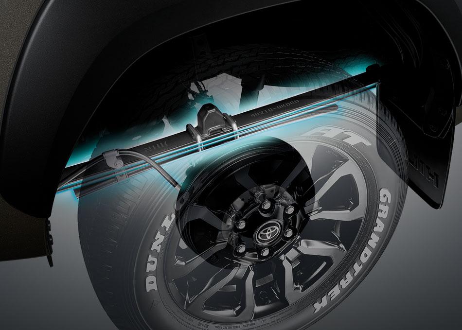 ใหม่ แหนบกันสะเทือน วัสดุ High-Tensile Steel พร้อมโช้คอัพปรับจูนใหม่ เพิ่มความนุ่มนวลดุจรถยนต์ SUV ระดับหรูและยังรองรับการบรรทุกหนักได้ดีเยี่ยม